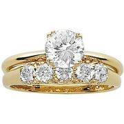 3.3 Carat T.G.W. CZ 14kt Gold-Plated Wedding Ring Set