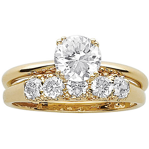 3.3 Carat T.G.W. CZ 14kt Gold-Plated Wedding Ring Set