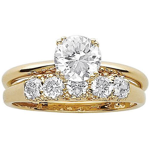 3 3 Carat T G W CZ 14kt Gold Plated Wedding Ring Set Walmart