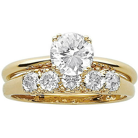 33 carat tgw cz 14kt gold plated wedding ring set - Wedding Rings Gold