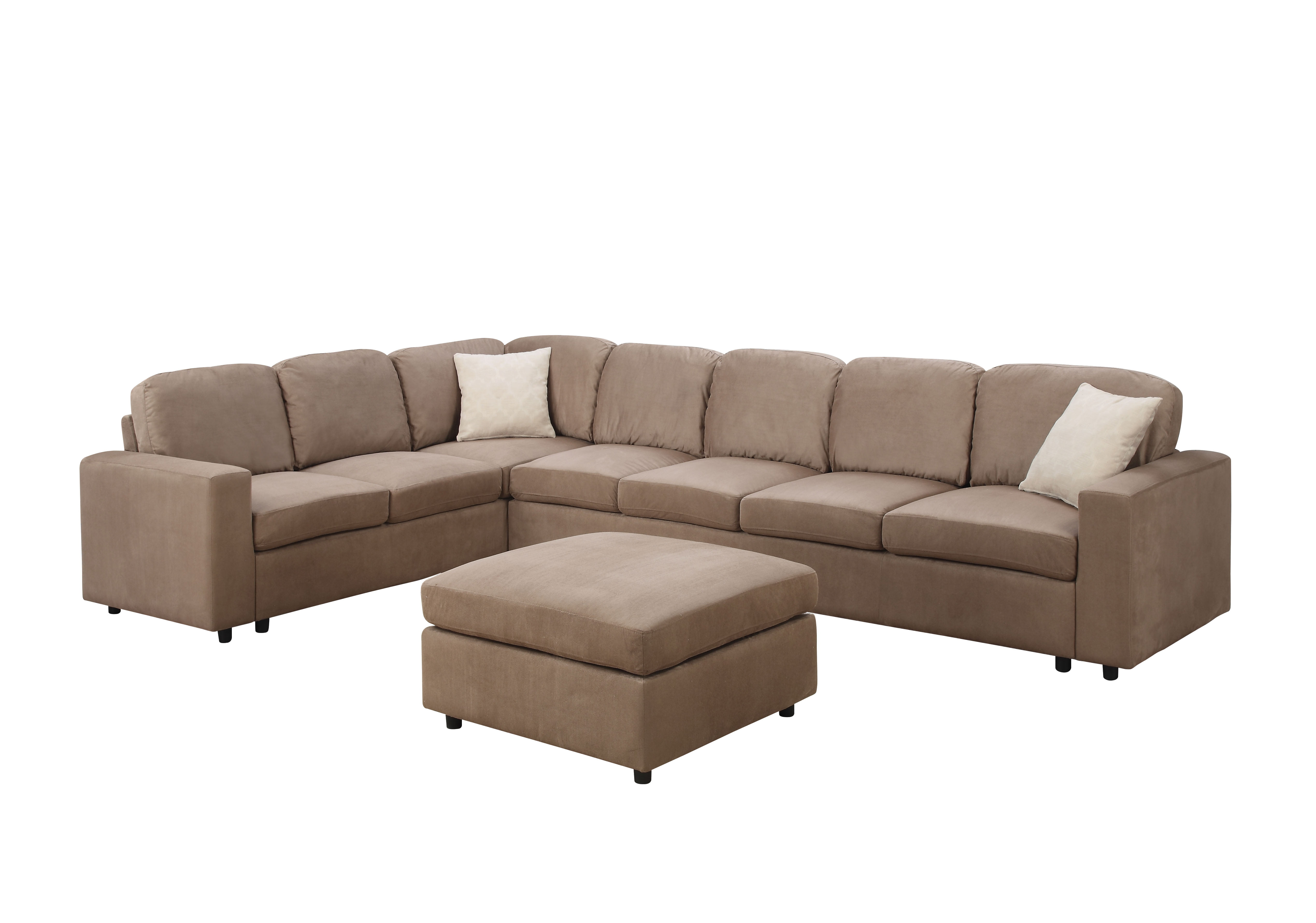 ACME Dannis Reversible Sectional Sofa with Pillows Saddle