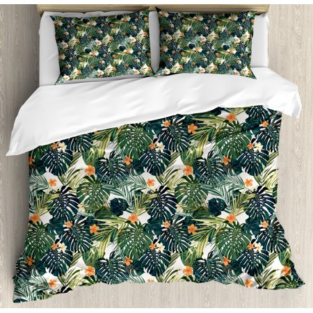 Green Duvet Cover Set, Hawaiian Summer Aloha Pattern with Tropical Plants and Hibiscus Flowers, Decorative Bedding Set with Pillow Shams, Green Dark Teal Orange, by Ambesonne