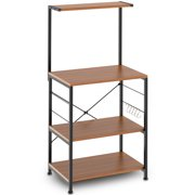Cheflaud Kitchen Baker's Rack Storage Shelf Microwave Cart Oven Stand Coffee Bar with Side Hooks 4 Tier Shelves(Rustic Brown)
