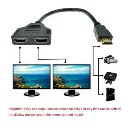 1080P HDMI Port Male to 2 Female 1 In 2 Out Splitter Cable Adapter - Digital Cable Splitter
