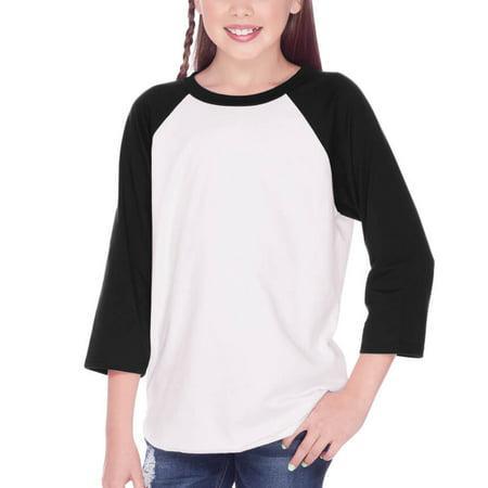 e0936745 Kavio! Youth Jersey Contrast Raglan 3/4 Sleeve White/Black XXS - Walmart.com