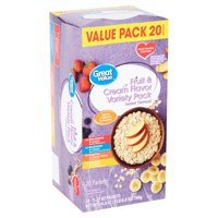 Great Value Fruit & Cream Flavor Variety Pack Instant Oatmeal Value Pack, 1.23 oz, 20 count