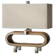 """20.5"""" Retro Style Stained Wood Accent Lamp with Chrome Details and Rectangular Shade"""