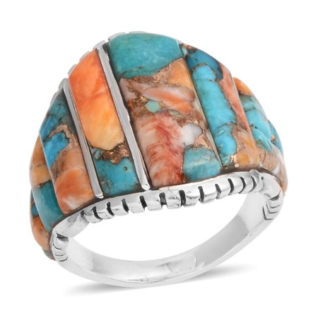 925 Sterling Silver Artisan Crafted Fancy Spiny Turquoise Fashion Ring for Women and Girls