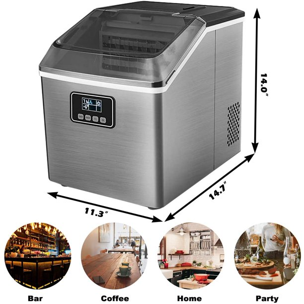Portable Ice Maker Machine For Countertop 40lbs Ice Cubes Daily With Led Display Self Cleaning Function Perfect For Home Office Bar Parties Electric Nugget Ice Maker With Ice Scoop And 2 4l Basket