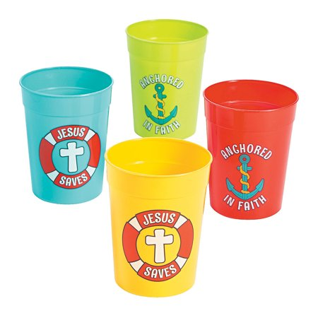 Fun Express - Island Vbs Plastic Tumblers - Party Supplies - Drinkware - Re - Usable Cups - 12 Pieces (Vbs Supplies)