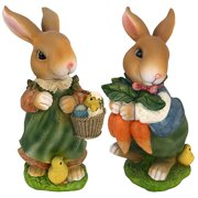 Design Toscano Bunny Hop Lane Mother and Father Rabbit Statues: Set of Two