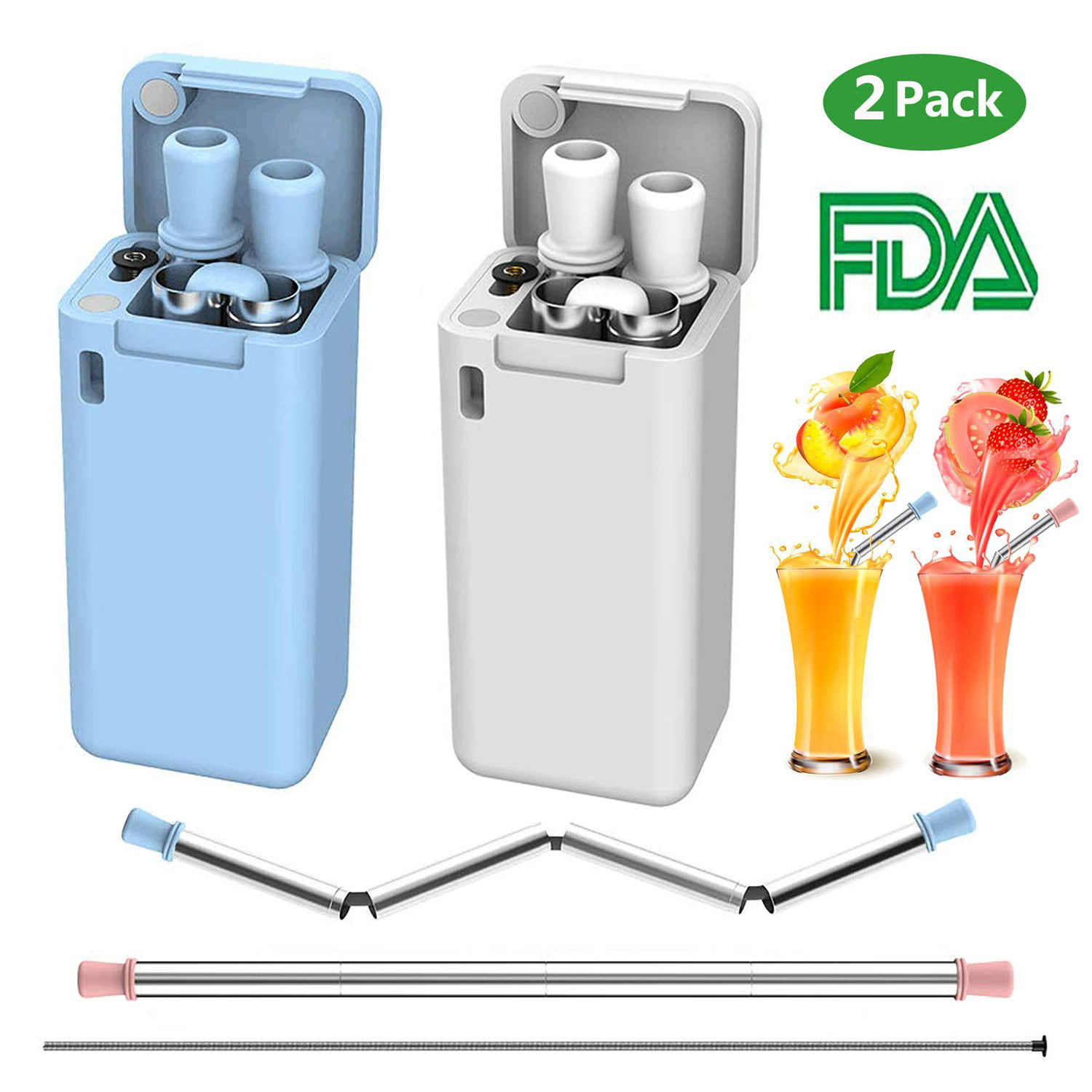etc. Portable Set with Hard Case Holder and Cleaning Brush Travel for Party White//White 2 Pack Collapsible Reusable Straw Outdoor Composed of Stainless Steel and Food-Grade Silicone