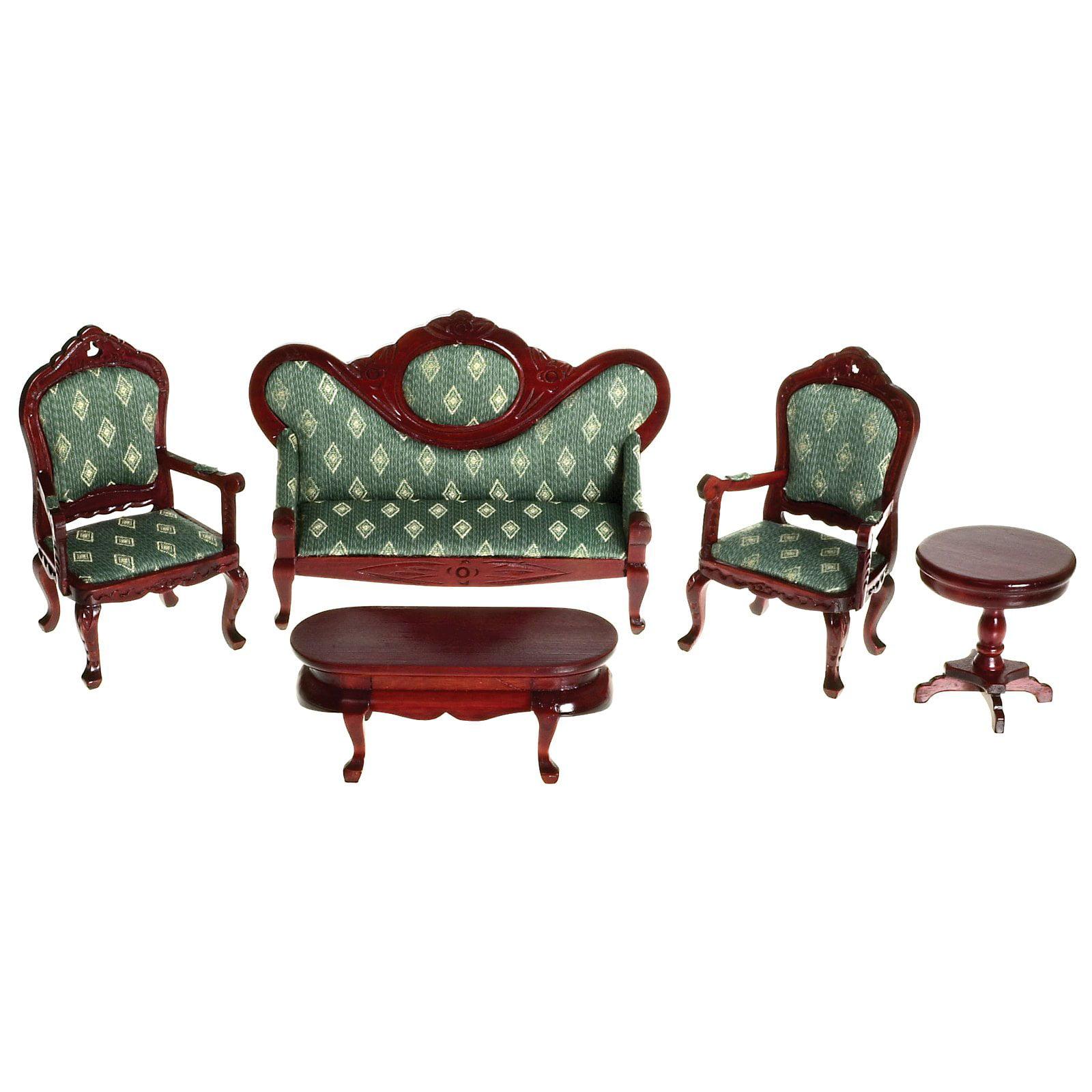 Mahogany & Green Victorian Living Room Dollhouse Miniature Set ...