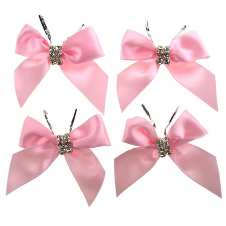 Pre-Tied Satin Bows with Rhinestone, 3-Inch, 4-Piece, Pink ()