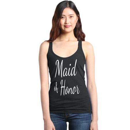 Shop4Ever Women's Maid of Honor White Bride Bridal Wedding Racerback Tank Top - Bride Tank Top
