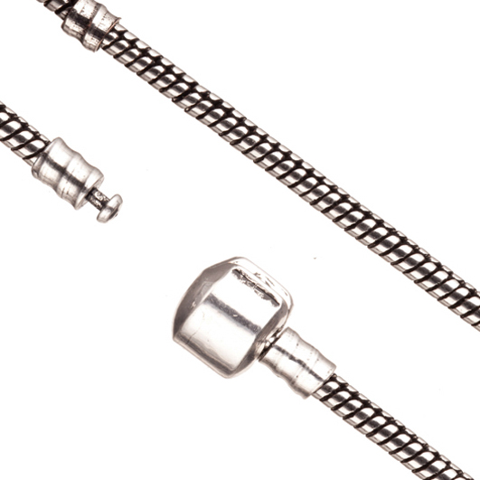 Large Hole Bead Chain (European Style) Antique-Silver Plated 2.7mm Snake 7 Inch Sold per pkg of 1