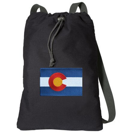 Canvas Colorado Backpack Natural Cotton Colorado Flag Cinch Bag Lined and with Wide Straps