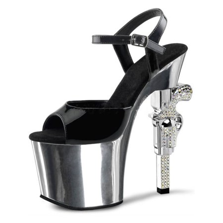 06124726e1cc SummitFashions - Black and Silver Strappy Sandals with Rhinestones and Revolver  Shaped 7   Heel - Walmart.com