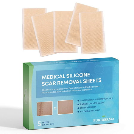 Puriderma Medical Silicone Scar Removal Sheets [Set of 5] - Fast & Effective on Keloid, Surgery, Burn, Acne, C-Section (Best Treatment For Keloid Scars)