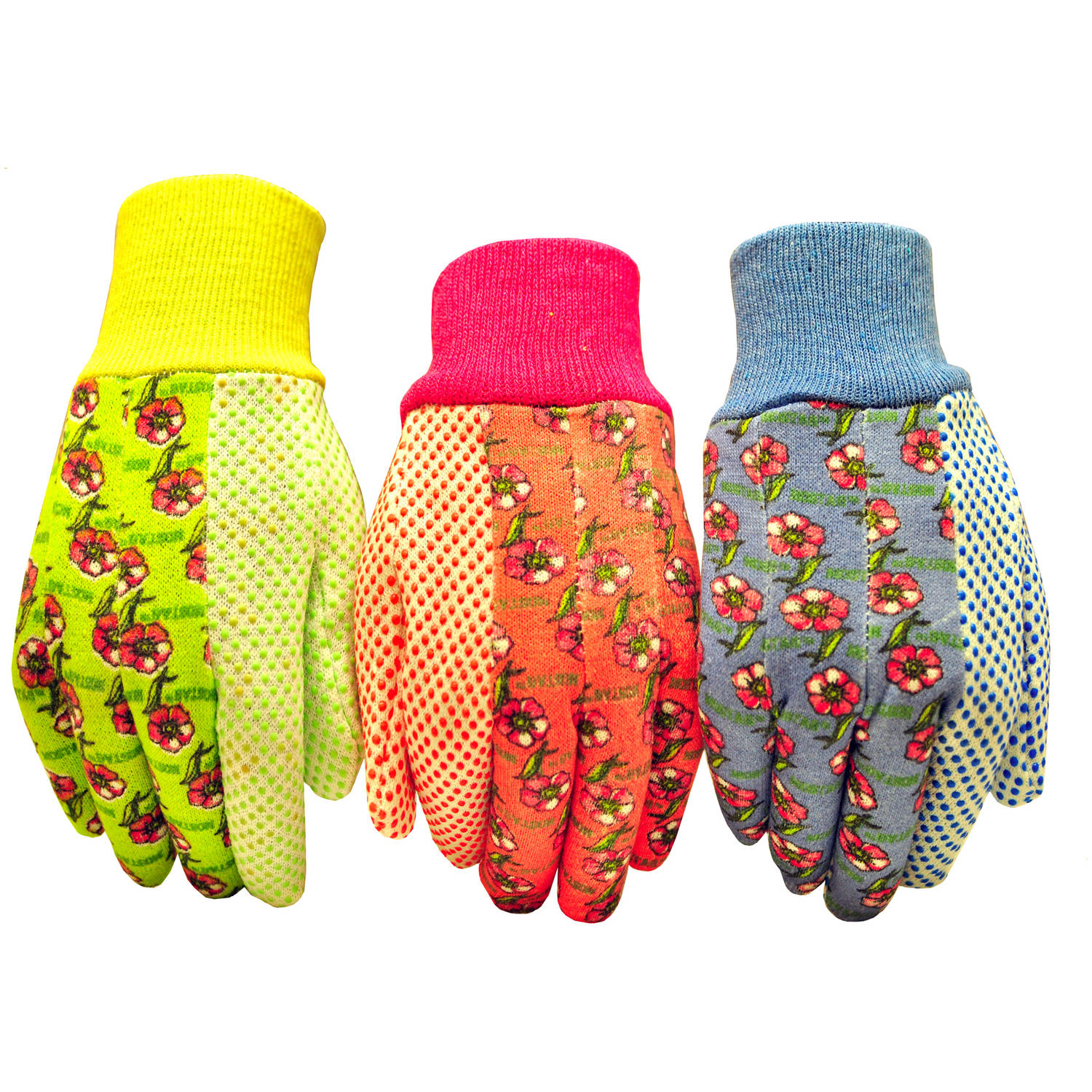 G & F Soft Jersey Garden Gloves, 3 Pairs, Green/Pink/Blue, Women