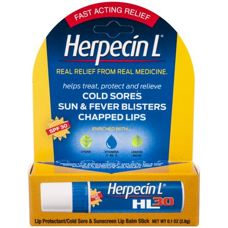 Herpecin L Lip Balm Stick SPF 30 Cold Sore Sun & Fever Blisters and Chapped Lips Relief, 1 Ounce (Best Way To Cure A Cold Sore On Lip)