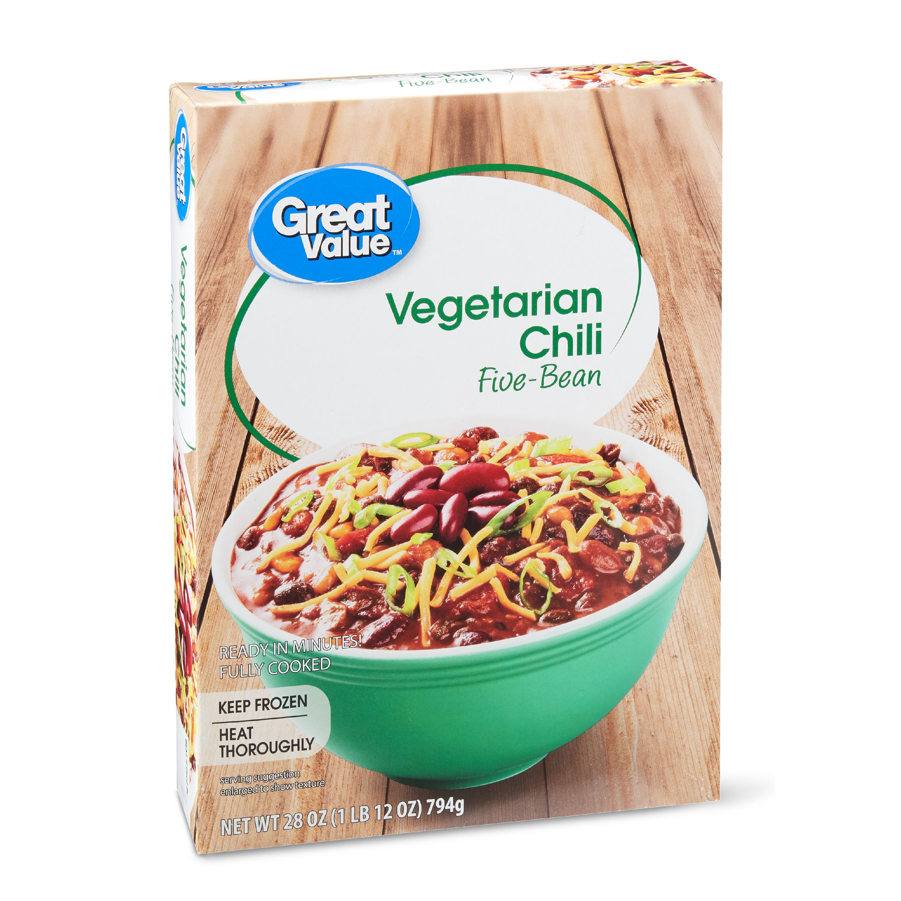 Great Value Frozen Five-Bean Vegetarian Chili, 28 oz