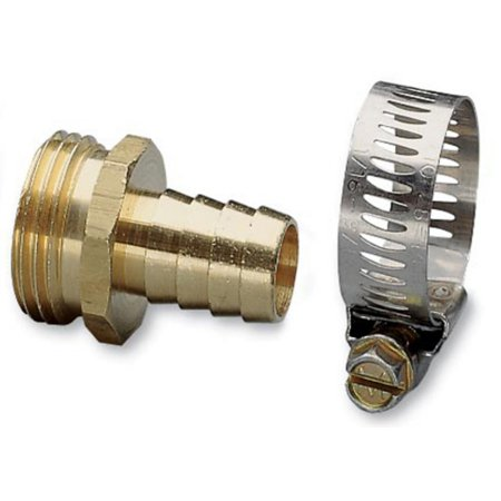 "Nelson 50453 3/4"" Brass & Worm Gear Clamp Male Hose Repair"