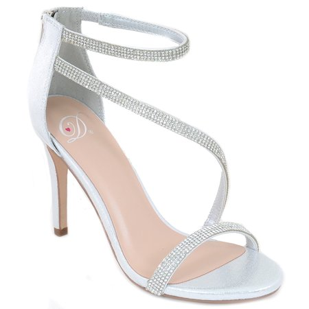 Silver Metallic Jeweled Strappy Platform Sandal Formal Heels Women