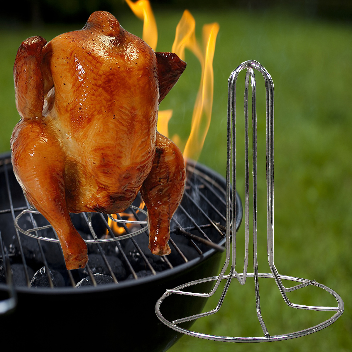 Weston Turkey Vertical Poultry Roaster Stand Rack Oven Baked Smoking Grilling Barbecue