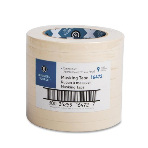 "Business Source 16460 Masking Tape - 0.50"" Width X 60 Yd Length - 3"" Core - 1 / Roll - Tan (BSN16472)"