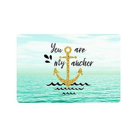 MKHERT You are My Anchor Nautical Anchor Quotes on Seascape Ocean Doormat Rug Home Decor Floor Mat Bath Mat 23.6x15.7 inch ()