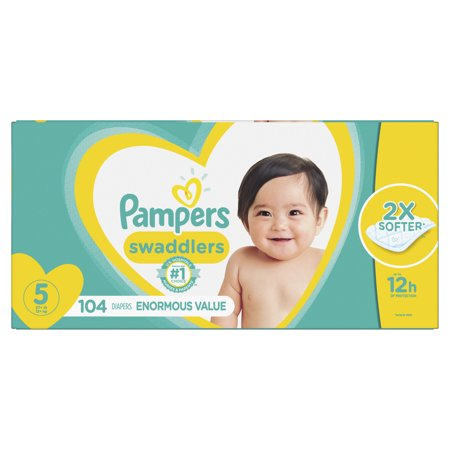 Pampers Swaddlers Diapers Size 5 104 Count (Pampers Swaddlers Sensitive Size 1 174 Count)