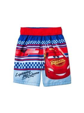 Disney Cars Lightning McQueen Toddler Boys' Swim Trunks - Red/Blue