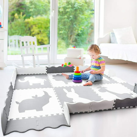 Cranium Giggle Gear - Large Baby Play Mat (5x7') | Soft, Thick, Foam Floor Mat for Infants, Toddlers and Kids | Non Toxic Crawling Mat | Neutral Nursery or Play Room Mat | Gray and White