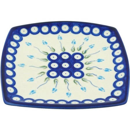 Polish Pottery 7¼-inch Square Plate (Floral Peacock Theme) Hand Painted in Boleslawiec, Poland + Certificate of Authenticity](Pottery Barn Halloween Plates)
