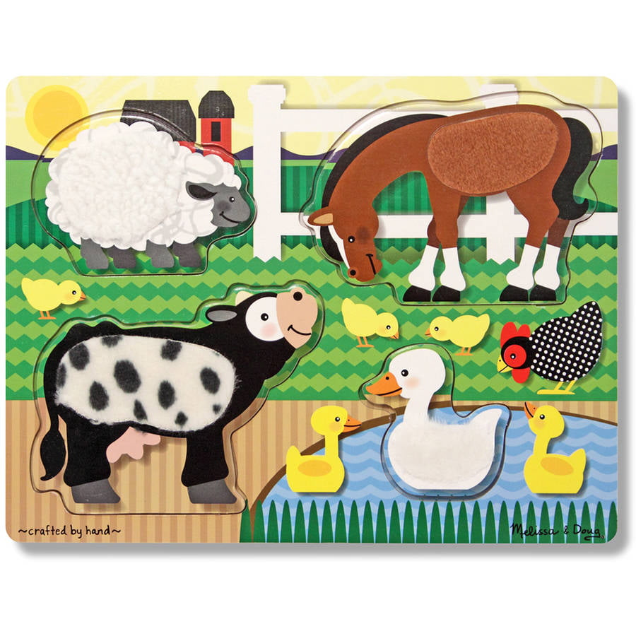 Melissa & Doug Farm Animals Touch and Feel Textured Wooden Puzzle by Generic