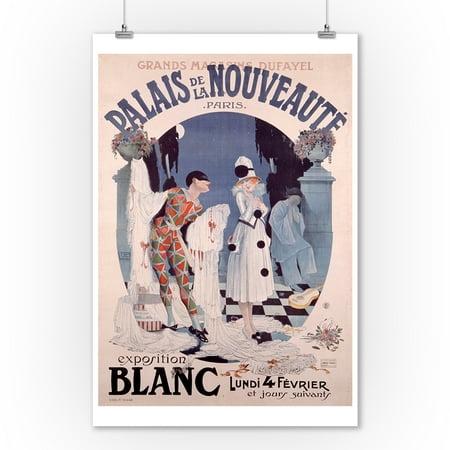 Palais de al Nouveaute - Exposition Blanc Vintage Poster (artist: Leonecc) France c. 1917 (9x12 Art Print, Wall Decor Travel Poster)
