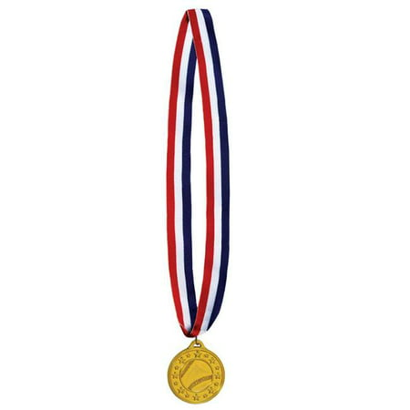 Baseball Medals - Beistle 53547 2 in. Baseball Medal with 30 in. Ribbon - Pack of 12