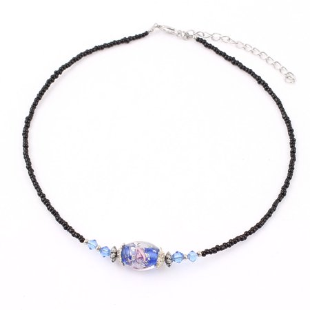 - Lady Woman Lobster Clasp Link Oval Chamilia Bead Ball Chain Necklace Dark Blue
