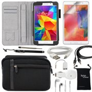 Samsung Galaxy Tab 4 7.0 (7-Inch) 10-Item Accessory Bundle - Black Leather Case, Sleeve Cover, Screen Protector, Touch Stylus Ink Pen, USB Cable, Car Charger, Earphones and Splitter, AUX, Travel Bag
