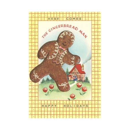 Here Comes Gingerbread Man Print Wall Art Gingerbread Men Decor
