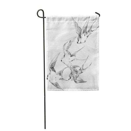 SIDONKU Drawing Swallow Pencil Sketch Spring Bird Swift Line Tattoo Garden Flag Decorative Flag House Banner 12x18 inch - Tattoo Drawings In Pencil