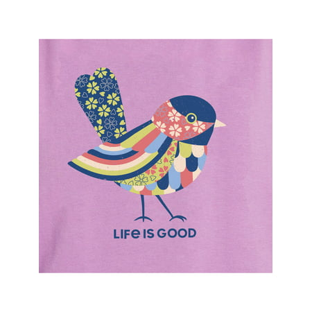 Life is Good Women's Colorful Bird High-Low-Crusher Tank Top, Happy Grape, Medium Life Is Good Girls Tank Top