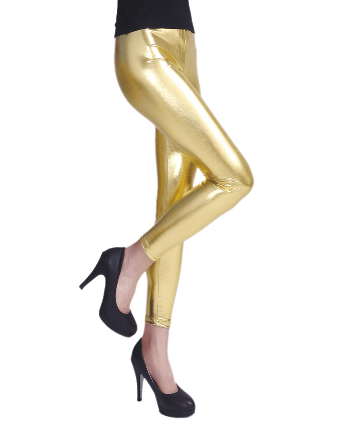 d90e063d3e HDE Women Shiny Liquid Wet Look Metallic Stretch Leggings (Small,  Holographic)