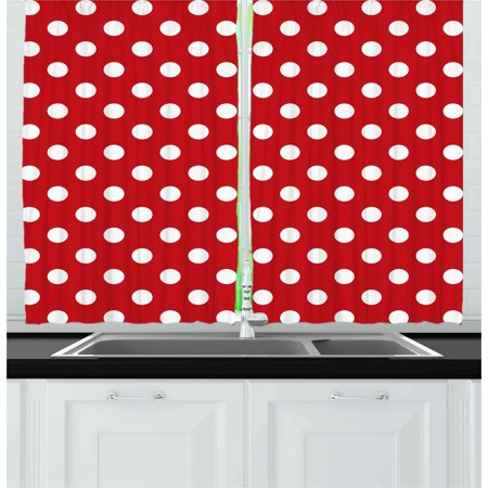 - Retro Curtains 2 Panels Set, Vintage Polka Dots with Big White Circular Round Forms Nostalgic Girlish Kitsch Art Design, Window Drapes for Living Room Bedroom, 55W X 39L Inches, Red, by Ambesonne
