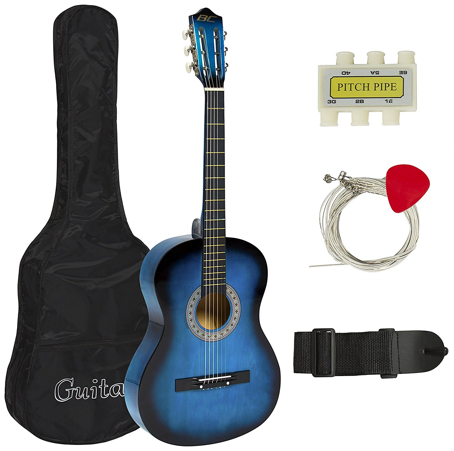 Best Choice Products Beginners Acoustic Guitar with Case, Strap, Tuner and Pick, Blue by Best Choice Products