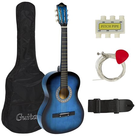 Left Handed Guitar Nut - Best Choice Products Beginners Acoustic Guitar with Case, Strap, Tuner and Pick, Blue