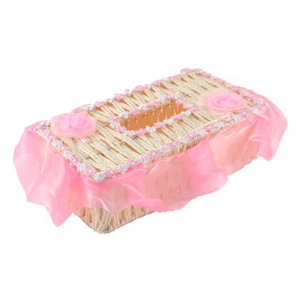 Uxcell Household Paper String Weave Rectangle Shaped Tissue Box Container Beige Pink ()