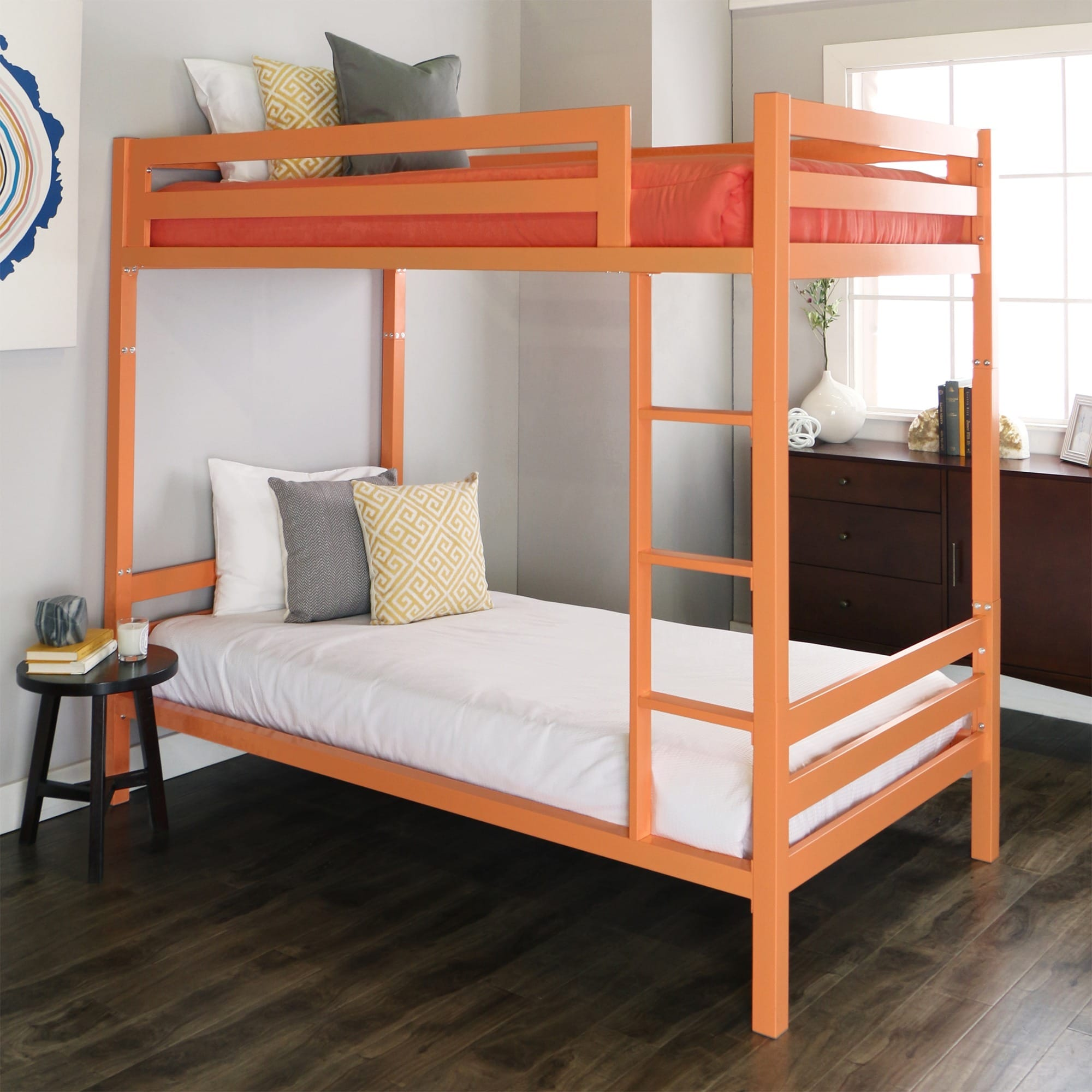 WE Furniture Twin over Twin Metal Bunk Bed - Coral