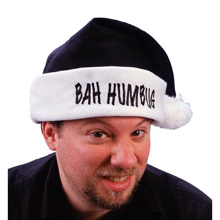 """17"""" Black """"Bah Humbug"""" Christmas Santa Claus Hat with White Cuff - Adult Size"""